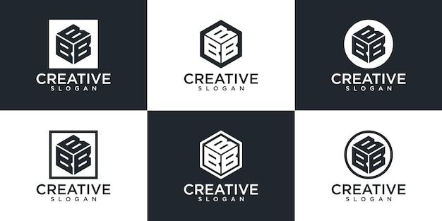 Satz des kreativen monogrammbuchstaben b logoentwurfs