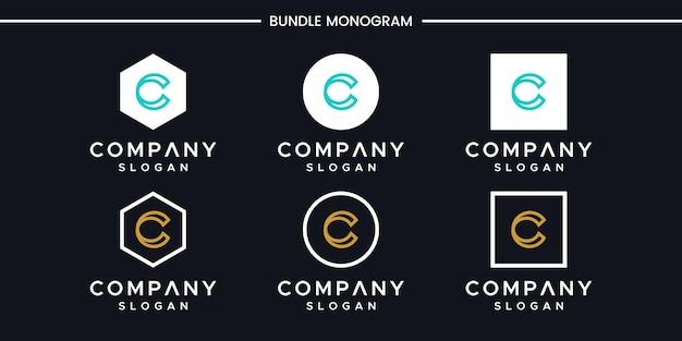 Satz des kreativen monogrammbuchstaben c logoentwurfs