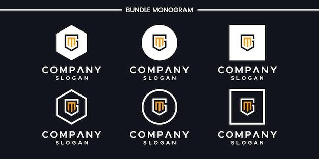 Satz des kreativen monogrammbuchstaben gm logoentwurfs
