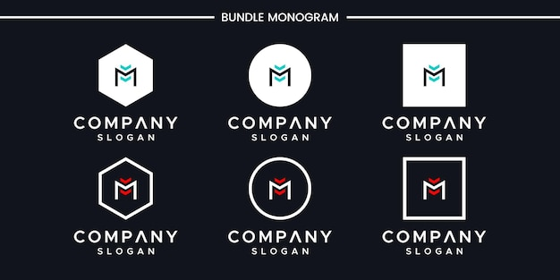 Satz des kreativen monogrammbuchstaben m logoentwurfs