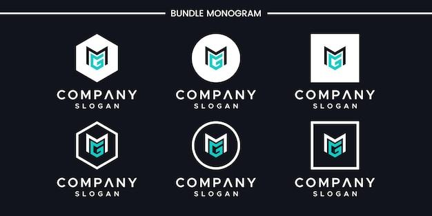 Satz des kreativen monogrammbuchstaben mg logoentwurfs