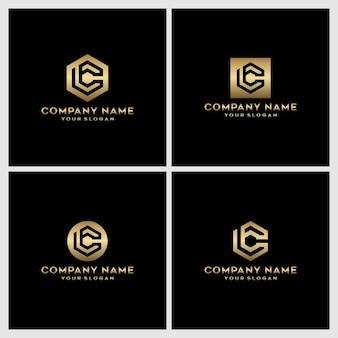 Satz des kreativen sechskantmonogrammbuchstaben c logoentwurfs