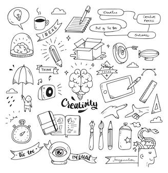 Satz des kreativitätsgekritzels lokalisiert auf weißem hintergrund