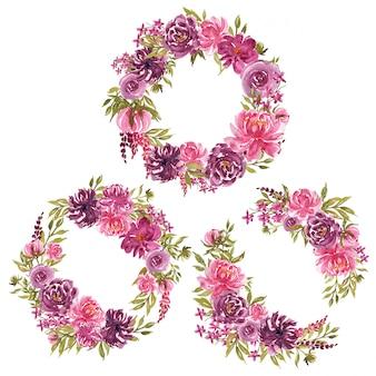 Satz des losen niederlassungsaquarell-blumenkranzes mit den purpurroten und rosa blumen