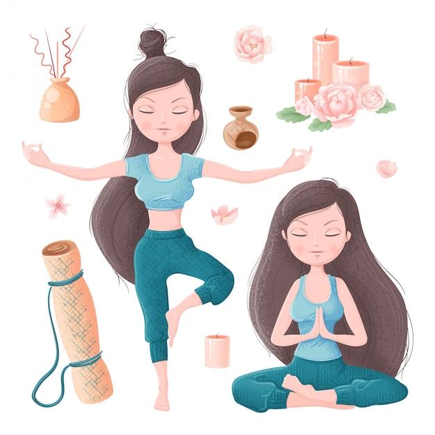 Satz des mädchens in den yoga asanas und im zubehör für ayurveda- und pfingstrosenblumen