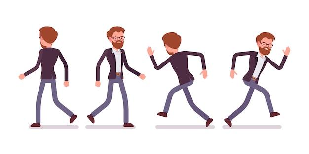 Satz des männlichen managers beim gehen, laufende haltungen, hintere, vorderansicht