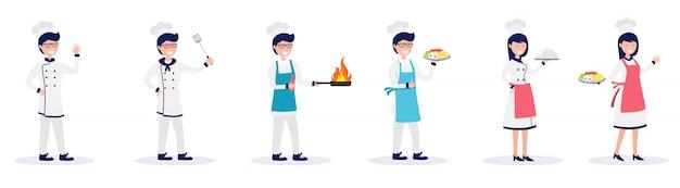 Satz des männlichen und weiblichen chefs lebensmittelvektorillustration kochend