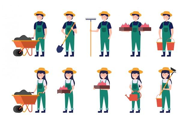 Satz des männlichen und weiblichen landwirts, der mit schubkarregabelhacke und gießkanne arbeitet, vector illustration