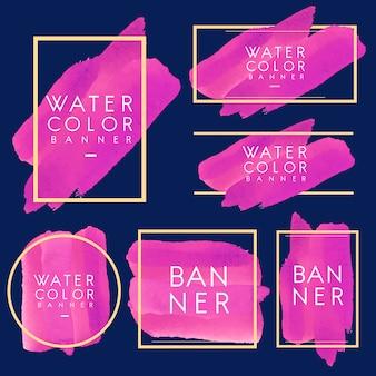 Satz des magentaroten aquarellfahnen-designvektors