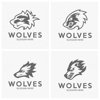 Satz des modernen Berufswolflogos für ein Sportteam. Wolf-Logo-Vektor-Illustration.