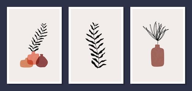 Satz des modernen illustrationsrahmens für wohnkultur, minimalistische illustrationen handgezeichnet