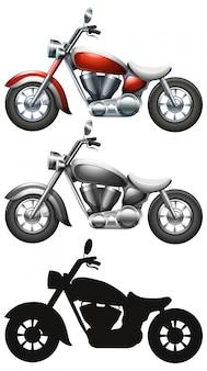 Satz des motorrades auf weißem hintergrund