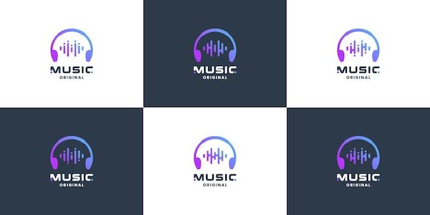 Satz des musikalischen symbol-app-logodesigns. wellenmusik,