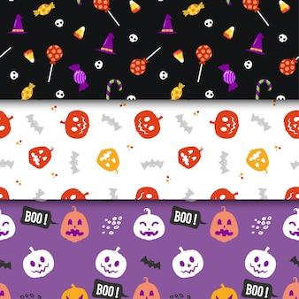 Satz des nahtlosen musterdruckdesigns minimalismus halloweens