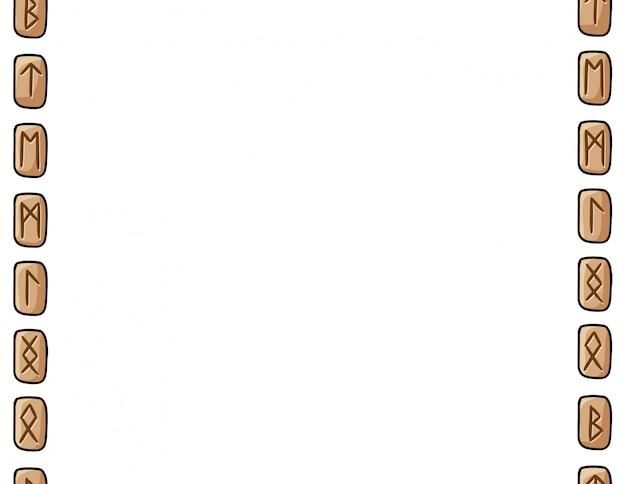 Satz des nahtlosen musters des hölzernen runenrahmens