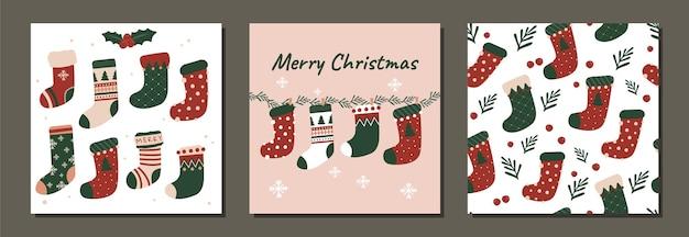 Satz des nahtlosen musters des modernen weihnachtsfeiertagsvektors und der illustrationssocken entwerfen für stoffe