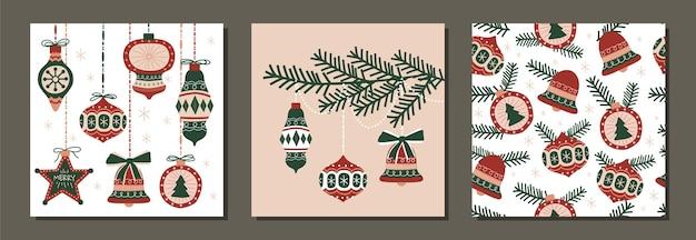 Satz des nahtlosen musters des modernen weihnachtsfeiertagsvektors und des illustrationsverzierungsdesigns