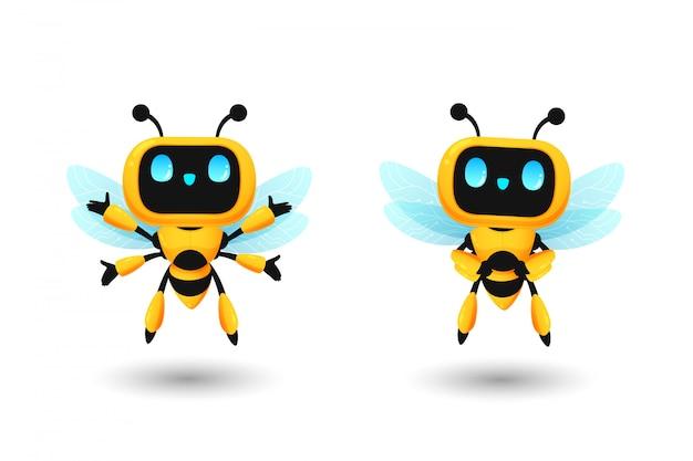 Satz des netten bienenroboter-ai-charakters in der glücklichen und vertrauenshaltung