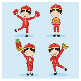 Satz des netten chinesischen jungen im kleid des traditionellen chinesen. frohes chinesisches neues jahr.