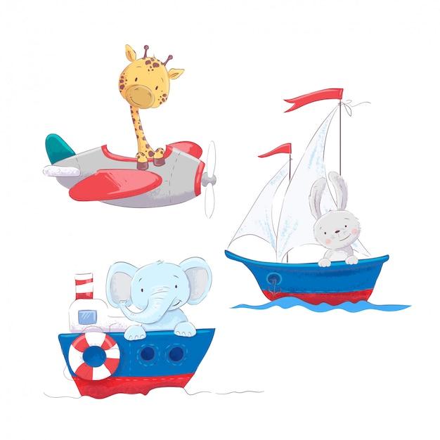Satz des netten karikaturtiergiraffenhasen und -elefanten auf einem see- und lufttransport