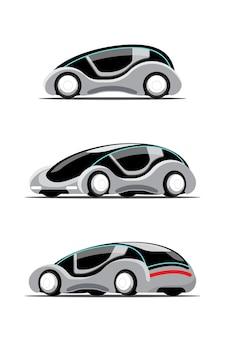 Satz des neuen innovationshitechautos im cartool-zeichenstil, flache illustration auf weißem hintergrund