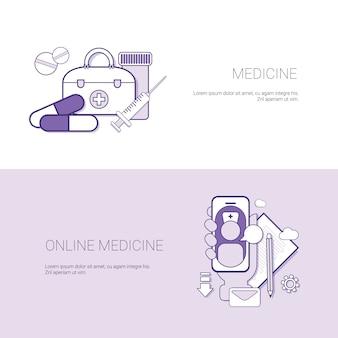 Satz des on-line-medizin-fahnen-geschäfts-konzept-schablonen-hintergrundes mit kopienraum