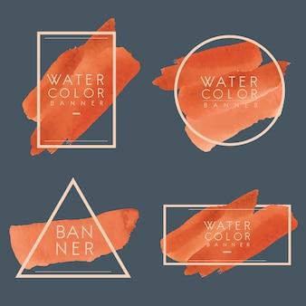 Satz des orange aquarellfahnen-designvektors