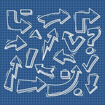 Satz des pfeil-hand gezeichneten gestaltungselements