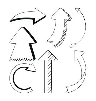 Satz des pfeilvektorillustrationsgrafikdesigns des handabgehobenen betrages