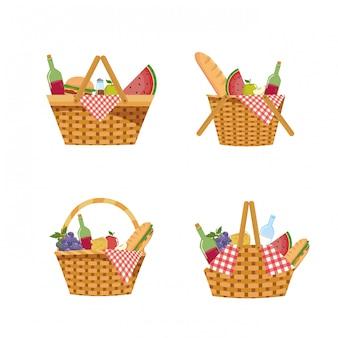 Satz des picknickkorbes mit lebensmittel und tischdecke