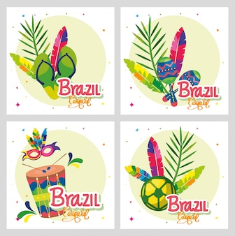 Satz des plakatkarnevals brasilien mit dekoration