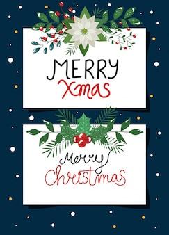 Satz des plakats der frohen weihnachten mit blumen und blättern