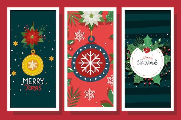 Satz des plakats der frohen weihnachten mit dekoration