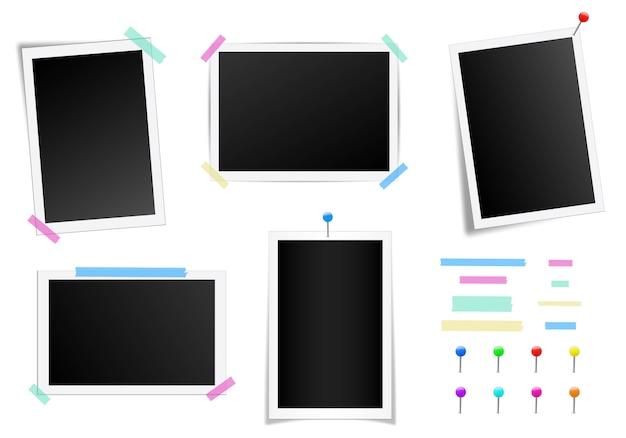 Satz des quadratischen fotorahmens mit schatten.