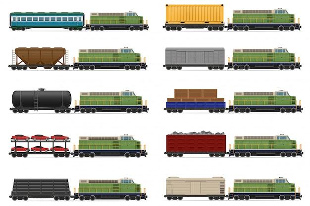 Satz des realistischen bahnzugs mit lokomotiv- und lastwagenvektorillustration