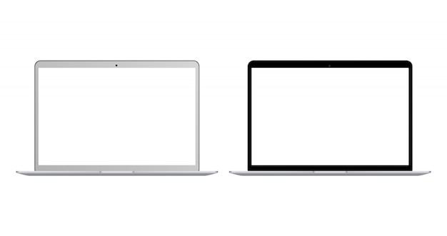 Satz des realistischen schwarzweiss-laptops mit dem leeren bildschirm lokalisiert. realistisches laptopnotizbuch mit leerem bildschirm. leere textfreiraum