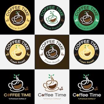 Satz des retro- kaffeeausweisaufkleber-logodesigns
