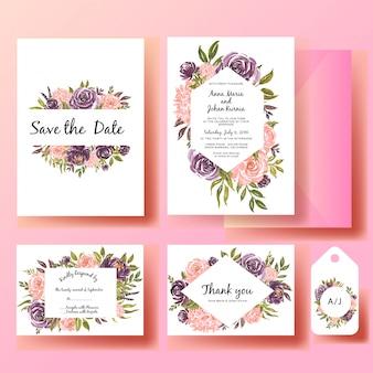 Satz des rosafarbenen rosas und des purpurs der hochzeitseinladungsaquarellblume mit grünem blatt