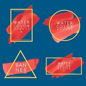 Satz des roten aquarellfahnen-designvektors