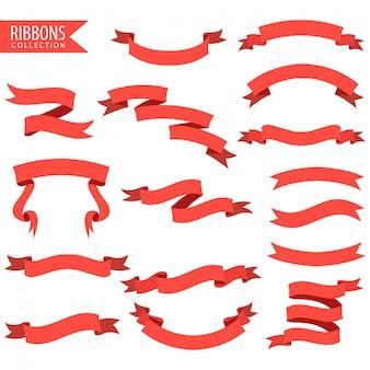 Satz des roten bandbanners lokalisiert auf weißem hintergrund. illustration