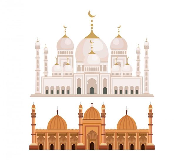 Satz des schlosses mit traditioneller architekturdekoration der monde