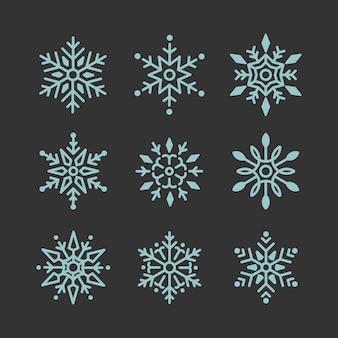 Satz des schneeflocken-weihnachtsdesignvektors