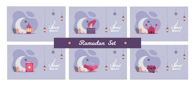 Satz des schönen fliegerkonzepts illustration ramadan kareem die grußkarte des heiligen monats des muslimischen festes mit nacht, laterne, schüttelhand, süßen datteln, halbmond und moschee. flaches land