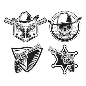 Satz des schwarzen cowboyemblems in schwarzweiss