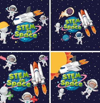 Satz des stiels im raumlogo und im astronauten im raumhintergrund