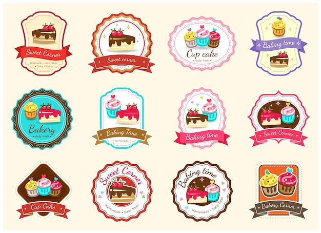 Satz des süßen bäckereiausweisaufklebers und -logos