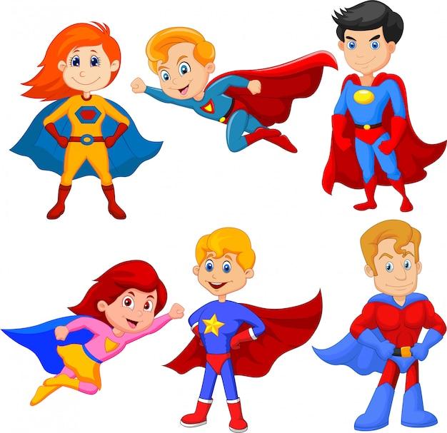 Satz des superheldmädchens und -jungen mit unterschiedlicher haltung