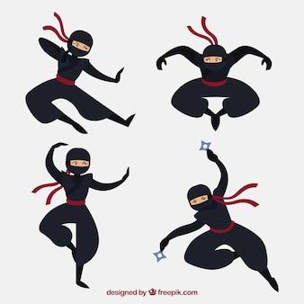 Satz des traditionellen ninja-charakters mit flachem design