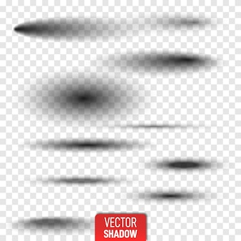 Satz des transparenten ovalen schattens mit den weichen rändern lokalisiert. realistischer getrennter schatten. graue runde und ovale schatten vektorillustration.