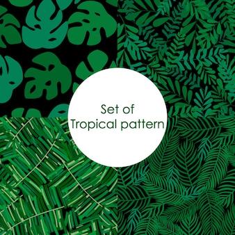 Satz des tropischen musters, palmblattvektor mit blumen